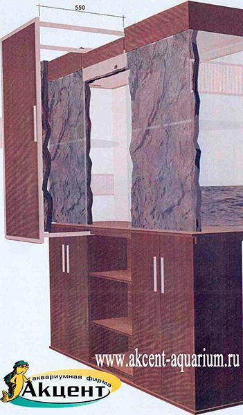 Акцент-аквариум. Террариум с выдвижной задней панелью