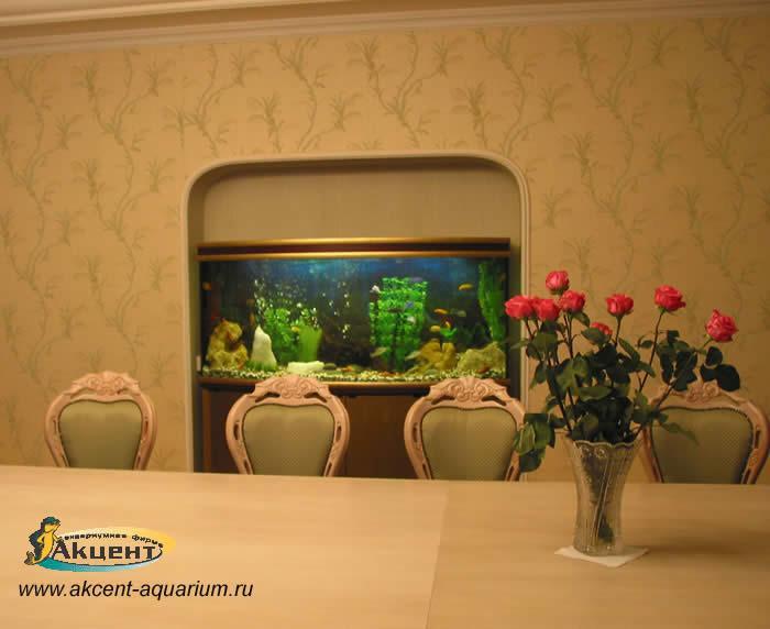 Акцент-аквариум,аквариум 400 литров с гнутым передним стеклом